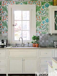 William Morris Wallpaper Kitchen - Stephen Sills Kitchen Design - House Beautiful