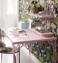 Available in white or powder pink, the Falkhöjden desk ($80) has charm to spare. Top it off with the add-on unit ($30) for extra office storage. Table Ikea, Ikea Desk, Deco Pastel, Bleu Pastel, Rosa Pastel, Pastel Pink, Office Storage, Storage Shelving, Metal Shelves