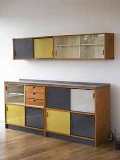 Trimma Kitchen cabinet Frank Guille for Kandya, Ltd. Solid beech, painted and veneered plywood Designed c. 1956