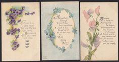 6 Greeting Garden Flowers Poems Antique Postcard Lot | eBay