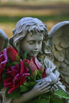 Atrapada en la piedra...Bellísima combinación, con las rosas la escultura parece...viva...no se explicarlo...es preciosísima.