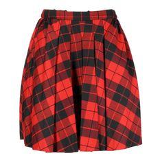 D Black/Red Tartan Skirt