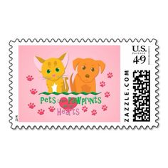 Pets Leave Pawprints on our Hearts Postage #cats #dogs #pets #animals #hearts