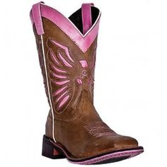 "Laredo Women's 10"" Flight Pink/Brown Square Toe Western Cowboy Cowgirl Boot 5668 is available for purchase in increments of 1"