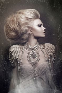 volumized hair with pearl neck top Fashion and editorial Hair and Makeup