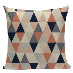 Luxe Linen Cushion Covers With Gold Accents Pink Throws, Pink Throw Pillows, Colorful Pillows, Throw Pillow Cases, Pillow Covers, Geometric Cushions, Geometric Throws, Blue Cushions, Triangle Rose