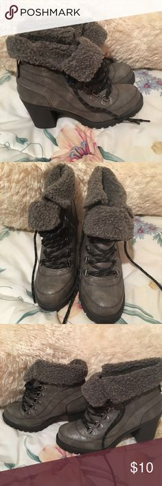 Short grey ankle boots Size 6.5, worn but good condition, lace up. Mudd Shoes Ankle Boots & Booties