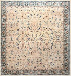 Large Square Antique Indian Agra Rug 50457 by Nazmiyal