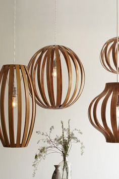 Shuttered Lantern-Like Lighting : Cylinder Lath Lamp - West Elm - had the tall one in Edmonds. West Elm does not carry any longer - :( Round Pendant Light, Modern Pendant Light, Pendant Light Fixtures, Pendant Lighting, Pendant Lamps, Dining Pendant, Glass Lamps, Light Fittings, West Elm