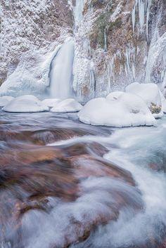 Winter's Return by Michael Bollino on ~ Wachlella Falls, Columbia River Gorge I Love Winter, Winter Is Coming, Winter Snow, Winter White, Snow White, Beautiful World, Beautiful Places, Winter Scenery, Winter Beauty