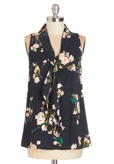 Strive to Thrive Top in Floral. When aiming for a big promotion, professional garments like this sleeveless, black blouse help keep your eye on the prize. #black #modcloth