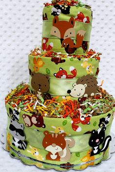 Baby Diaper Cakes Woodland Animals Creatures Baby Shower Gift or Centerpiece. $53.99, via Etsy.