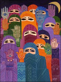 Art by Laila Shawa. Women with hamsas/Hands of Fatimas, which symbolize God's protection.