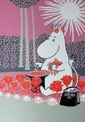Retro Moominmamma picking berries postcard