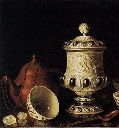 pieter gerritsz van roestraten, still life with chinese tea bowls, later 17thC (detail)