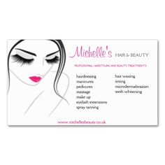 Hair and Beauty salon, business card design. This great business card design is available for customization. All text style, colors, sizes can be modified to fit your needs. Just click the image to learn more!