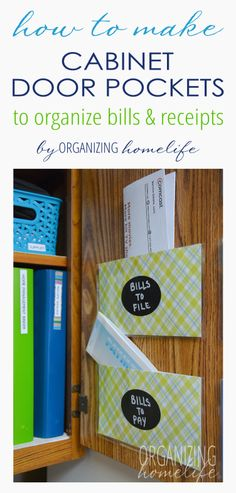 How to Organize Bills & Receipts with Cabinet Door Pockets