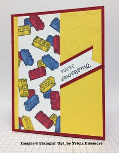 Tricia Dissmore, card swap, Stampin' Up! Boy Cards, Kids Cards, Spring One, You're Awesome, Stampin Up Cards, Legos, Birthday Cards, Card Making, Paper Crafts