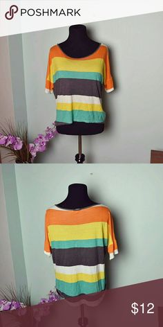 Beautiful Multi Color Bright Striped Top In excellent condition! Super cute and lightweight! Tops Blouses