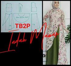 Long Dress Patterns, Dress Sewing Patterns, Sewing Patterns Free, Clothing Patterns, Blouse Batik, Blouse Dress, Frock Fashion, Hijab Fashion, Muslim Women Fashion