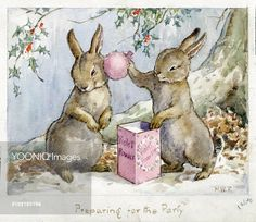 'Preparing for the Party'  Christmas card.