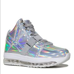 Yru light up hologram sneakers AIIRE new in box  Silver hologram upper, clear light up bottom. 3/4 height. Lights up: pink, blue, and green ***RUNS A SIZE BIG*** brand is YRU (more sizes available in my closet) Jeffrey Campbell Shoes Athletic Shoes