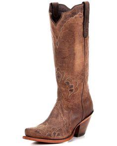 Tony Lama Women's Tan Saigets Worn Goat Boot