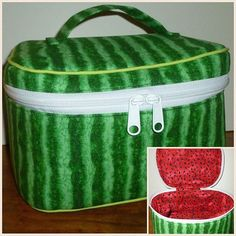 I had to share this watermelon Crimson and Clover Train Case!  Pattern by Sew Sweeteness