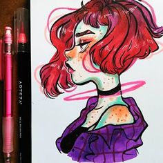 Sketchbook Drawing I want to create my own characters now. I'm thinking on making a comic. Or some kind of story idk. Amazing Drawings, Cool Drawings, Amazing Art, Pretty Art, Cute Art, Copic Art, Marker Art, Copics, Character Drawing