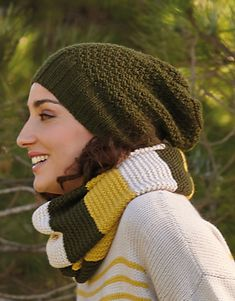 Tijdschrift Dames Basic 10 Herfst / Winter | 5b: Dames Colsjaal | Beige / Licht geel / Donkergroen