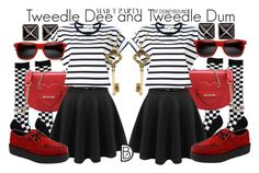 """""""Tweedle Dee and Tweedle Dum"""" by leslieakay ❤ liked on Polyvore featuring Kenneth Jay Lane, Love Moschino, Vanessa Bruno Athé, T.U.K., Yochi, disney and disneybound"""