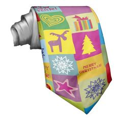 christmas colorful pattern tie