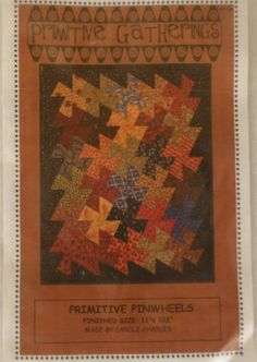 """Primitive Pinwheel Tool, Using 3 1/2"""" Squares, Making Pinwheels Easier, 30 Squares Makes a Quilt 11"""" x 12 1/2"""", Patterns Available Here"""