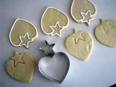 heart cookie cutter + star cookie cutter = strawberry cookie.