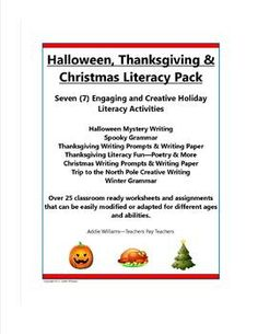 Holiday Literacy Pack - Halloween, Thanksgiving & Christmas