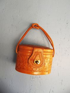 b6dd5f6553 RESERVED Southwestern Pillbox leather Tooled Purse. 1970 Pill Boxes