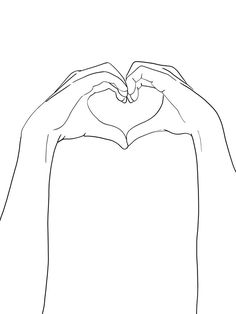 hands heart line art Rose Line Art, Line Art Flowers, Black And White Art Drawing, Black And White Lines, Outline Art, Outline Drawings, Ink Drawings, Line Art Design, Simple Line Drawings