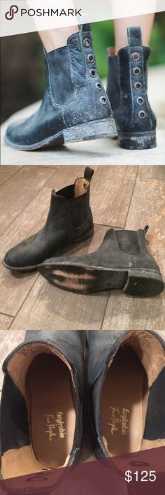"Free People Mountain Peaks Chelsea Boot Description Style: 35211507 Color Code: 001 🚫🚫NO LOWEST/LOW BALL OFFERS🚫🚫 Distressed washed leather Chelsea boots, with a strip of brass grommets down the back. Pull-tab at topline.  Faryl Robin x Free People  Leather Import Product measurements Shaft: 5.75"" = 14.6 cm                                         💢These have never been worn other than to try on.  They are in PERFECT condition!  They are listed as ""black"" on the Free People website, but…"