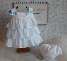 "Azul y Rosa Artesanía Infantil, línea clásica. Azul y Rosa Artesanía Infantíl ""Moda Bebé e Infantil"" WhatsApp: Sewing For Kids, Baby Sewing, Little Girl Dresses, Flower Girl Dresses, Frocks And Gowns, Baby Dress Design, My Baby Girl, Kids Girls, Doll Clothes"