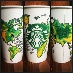 """World"" Cup I drew for Starbucks Loves White Cup Contest. Starbucks Cup Drawing, Starbucks Cup Art, Custom Starbucks Cup, Starbucks Logo, Starbucks Drinks, Starbucks Coffee, Drawing Cup, Coffee Cup Art, Cup Decorating"
