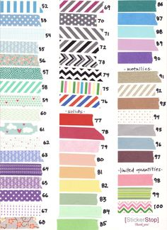 Washi Tape Assortment - 16 yards of your choice (48 feet) - 100 Pattern Selection. via Etsy.