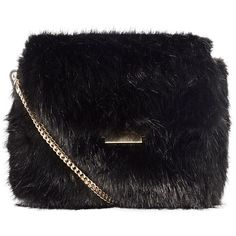 Karen Millen Faux Fur Chain Bag, Black (2.465.965 IDR) ❤ liked on Polyvore featuring bags, handbags, clutches, evening handbags, holiday purse, hand bags, holiday handbags and faux fur purse