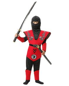Boys Red and Black Twin Dragons Ninja Master Costume