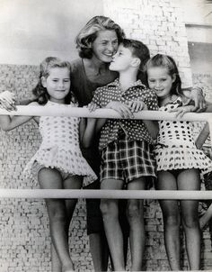 Ingrid Bergman with her children Isotta, Isabella & Robertino Rossellini