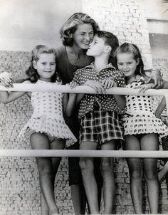 Ingrid Bergman with her children Isotta, Isabella & Robertino Rossellini