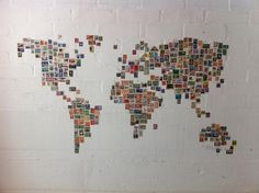 World Stamp Map by Ben Terrett. A world map made from stamps from the relevant countries. Decoration Photo, Postage Stamp Art, Ideias Diy, Stamp Collecting, Traveling By Yourself, Diy And Crafts, Photo Wall, Room Decor, Crafty