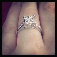 Real Ritani Engagement Rings - Princess Cut Solitaire Diamond Channel-Set Diamond Band
