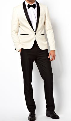 MENS SLIM FIT CREAM PROM TUXEDO SUIT