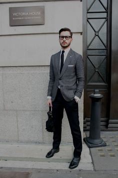 grey and black outfits men
