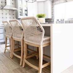 """Availability: If in stock, ships within 2-3 business days after processing time. Sweetly bright in a Scandinavian whitewashed finish, made of solid acacia wood with an organically inspired whitewash finish. With seating for 4, this table works perfectly in a condo or smaller living space. Product Dimensions: 54""""W x 54"""" Woven Bar Stools, Rattan Counter Stools, Counter Stools With Backs, Stools For Kitchen Island, Island Chairs, Counter Height Stools, Kitchen Counters, Beach House Kitchens, Round Dining"""